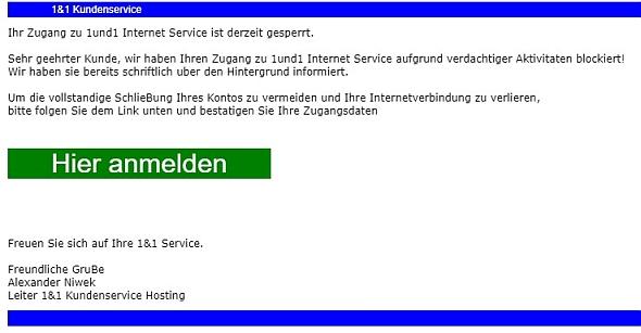 Ihr Zugang Zu 1und1 Internet Service Ist Derzeit Gesperrt