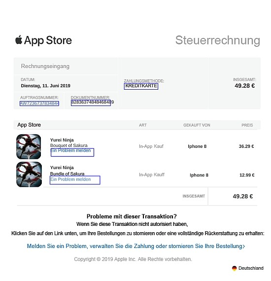 App Store Rechnung Fake