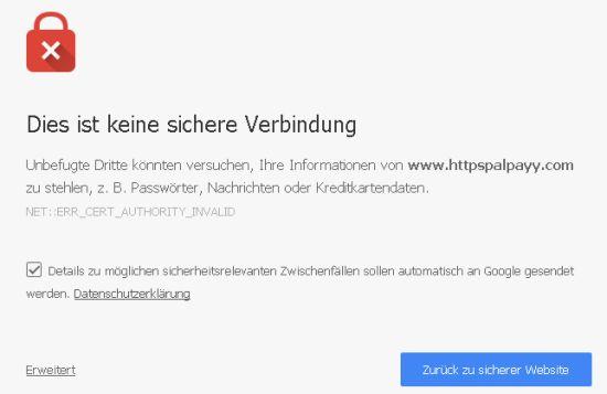 Dies ist keine sichere Verbindung - Datenschutzfehler