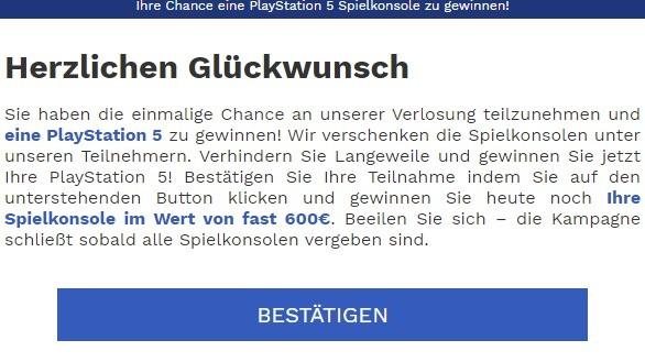 playstation 5 fake-mail 14.4.2021