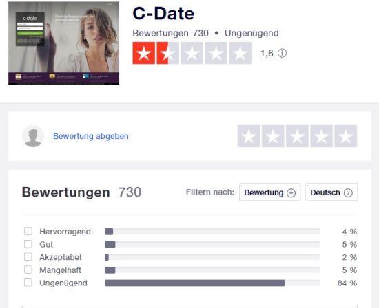 bewertung cdate.de trustpilot 13.5.2021
