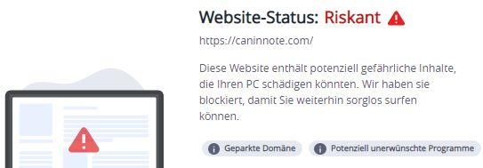 caninnote.com warnung mcafee 22.9.2021