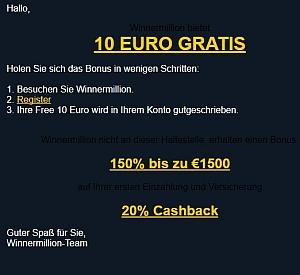 Erhalten Sie 10 Euro auf dem Haus