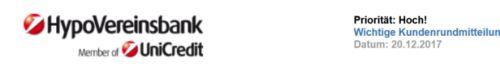 HypoVereinsbank | Wichtige Kundenrundmitteilung - Spam von hypovereinbank