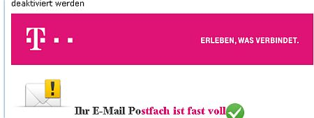 Ihr E-Mail Postfach ist fast voll. - von Telekom Kundenservice AG